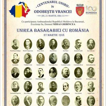 Centenarul Unirii Basarabiei cu România, la Odobești