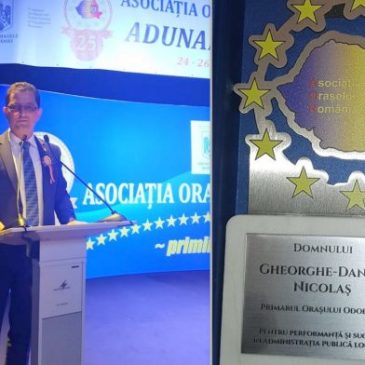 Primarul din Odobești, premiat pentru performanță și succes în administrație